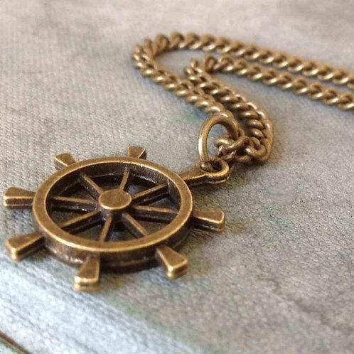 Mens Dharma Wheel Necklace Bronze