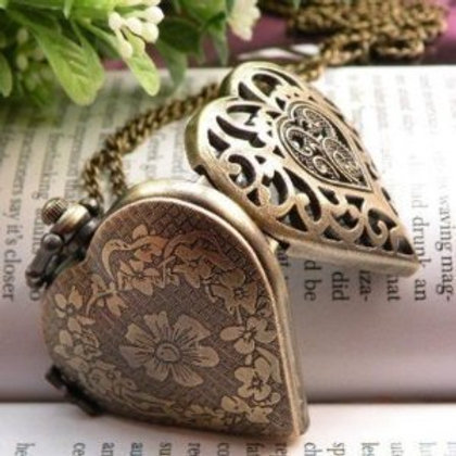 Vintage Heart Bronze Locket Necklace