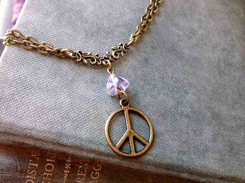 Peace Necklace Bronze & Crystal
