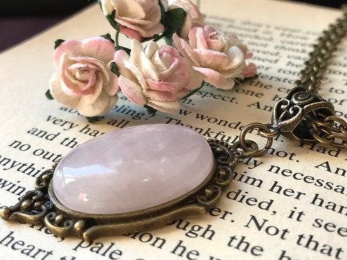 Rose Quartz Gemstone Necklace Bronze