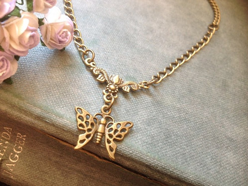Butterfly Necklace Bronze