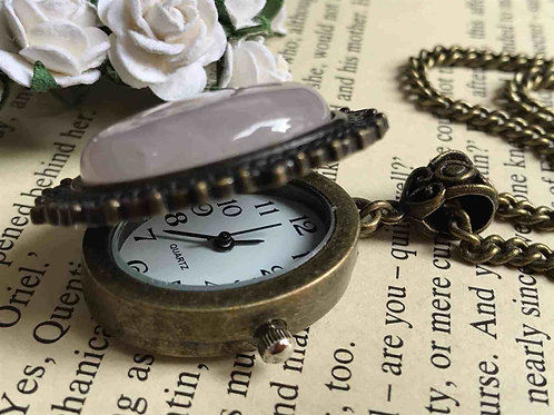 Rose Quartz Watch Necklace Bronze