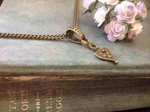 Vintage Heart Drop Necklace Bronze