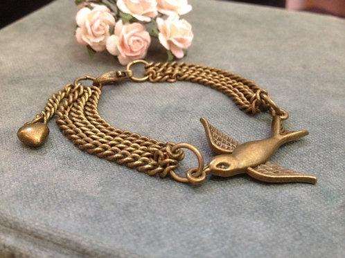 Swallow Bird Bronze Cuff Bracelet