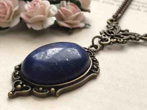 Lapis Lazuli Gemstone Necklace Bronze Filigree