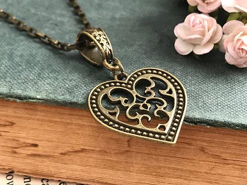 Heart Necklace Bohemian Filigree Bronze