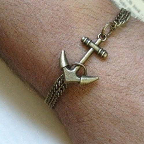 Mens Anchor Bracelet Bronze