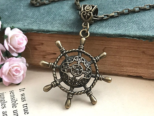 Dharma Wheel Bronze Filigree Necklace