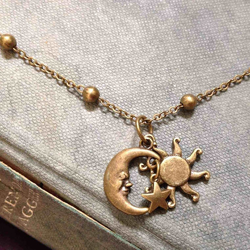 Sun Moon And Stars Necklace Bronze
