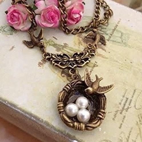Swallow Birds Nest Pendant Bronze