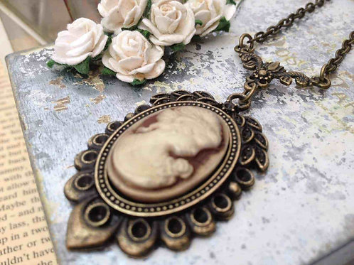 Victorian Cameo Bronze Necklace