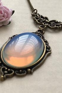 Opalite Gemstone Bronze Necklace