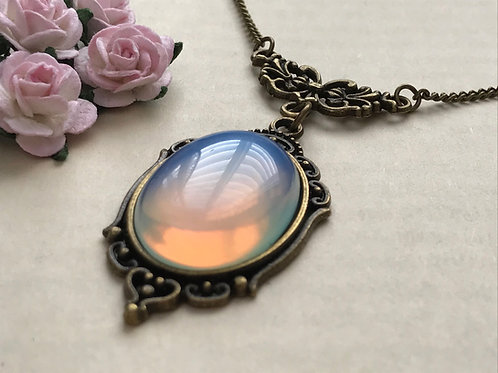 Opalite Gemstone Bronze Necklace
