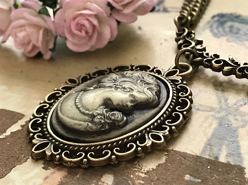 Vintage Cameo Bronze Necklace