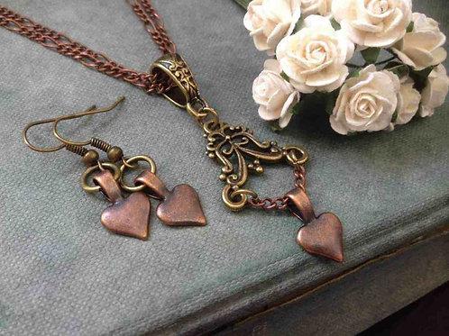 Bohemian Chandelier Necklace & Earrings Bronze & Copper