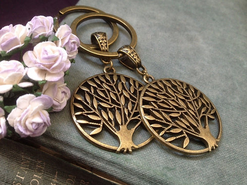 Two Tree of Life Key Chains Bronze