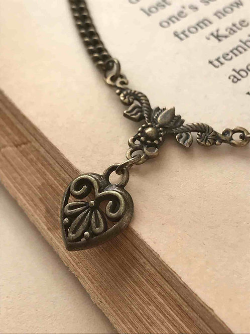 Victorian Heart Necklace Bronze