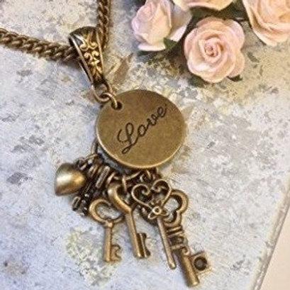 True Love Charm Necklace Bronze