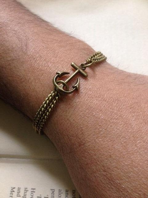 Mens Anchor Bracelet Bronze Traditional