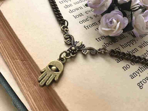 Hamsa Necklace Bronze