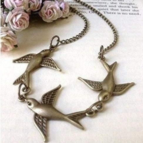 Swallow Bird Serenity Necklace Bronze