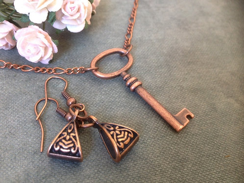 Copper Necklace & Earrings Bohemian