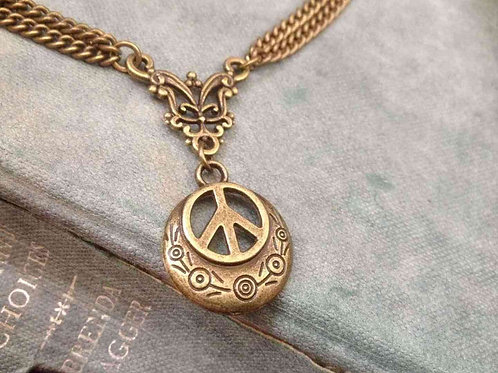 Peace Necklace Bronze Bohemian
