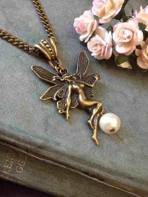 Vintage Angel Necklace Bronze