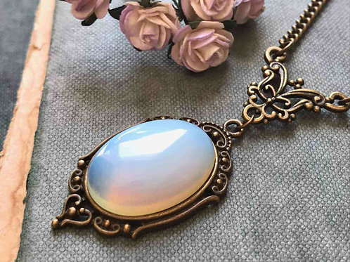 Opalite Gemstone Necklace Bronze Vintage