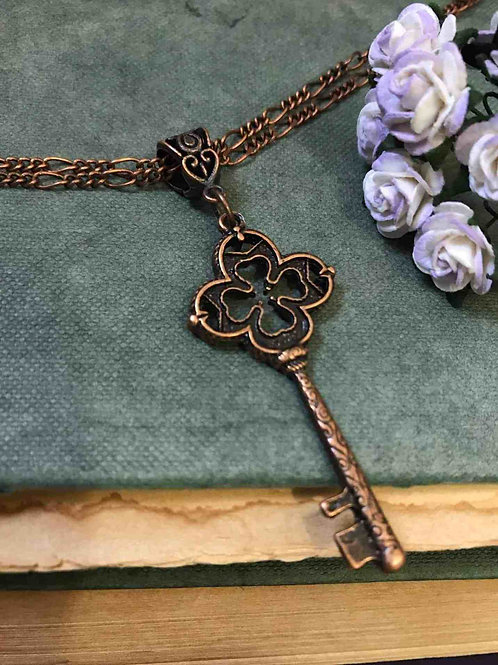 Copper Key Clover Necklace