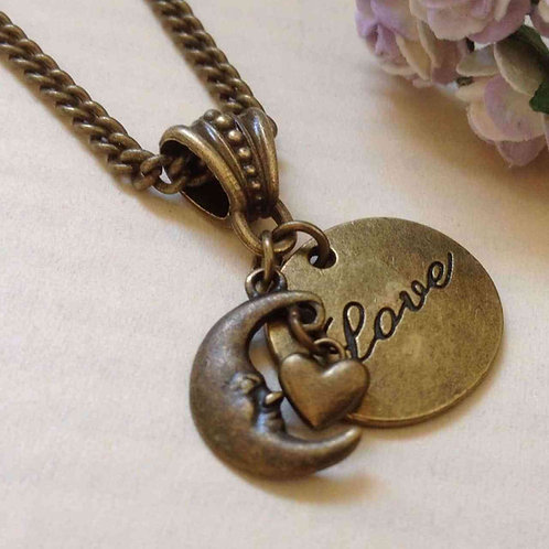Love You To The Moon And Back Bronze Necklace