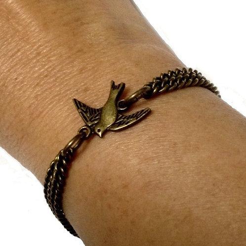 Swallow Bird Bracelet Bronze