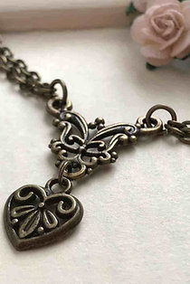 Heart Necklace Bronze Filigree