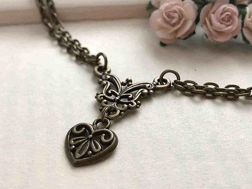 Heart Necklace Bronze Filigree