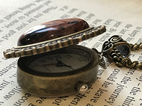 Obsidian Gemstone Watch Necklace