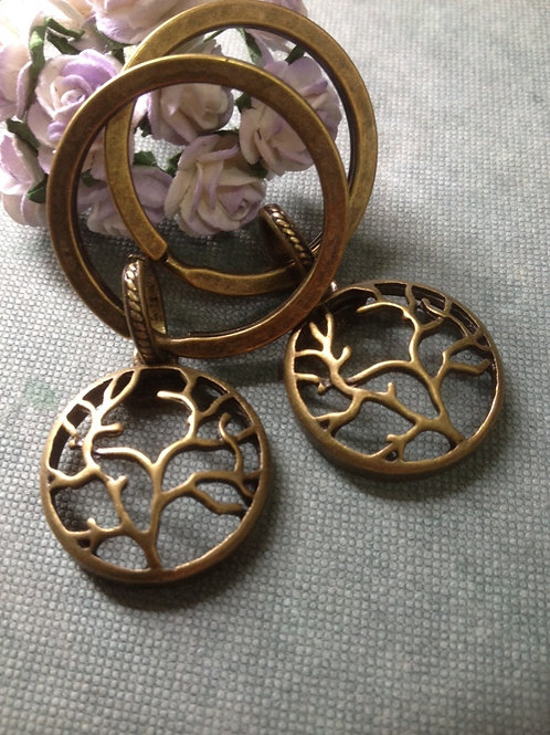 Two Tree of Life Key Chains Bronze Filigree