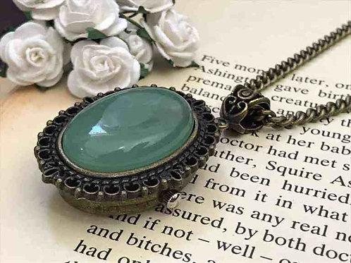 Aventurine Gemstone Watch Necklace Bronze