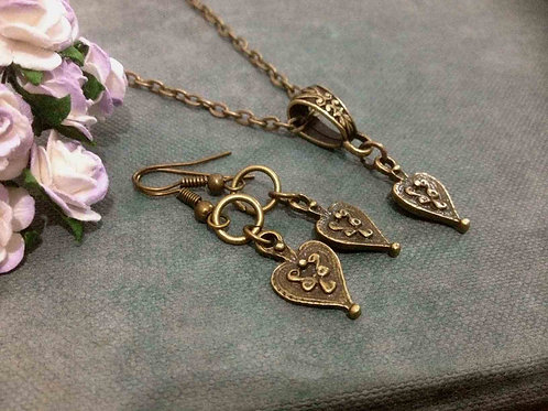 Vintage Heart Drop Necklace & Earrings Bronze