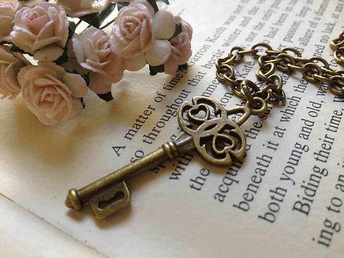 Vintage Bronze Key Necklace
