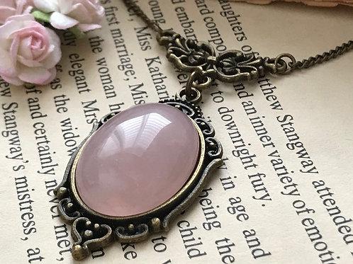 Rose Quartz Gemstone Bronze Bohemian Necklace
