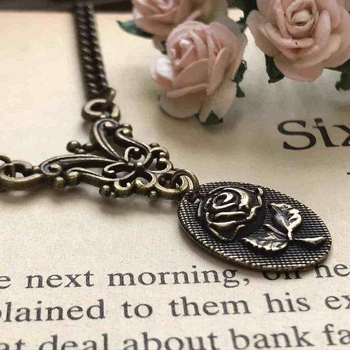 Rose Necklace Bronze Filigree