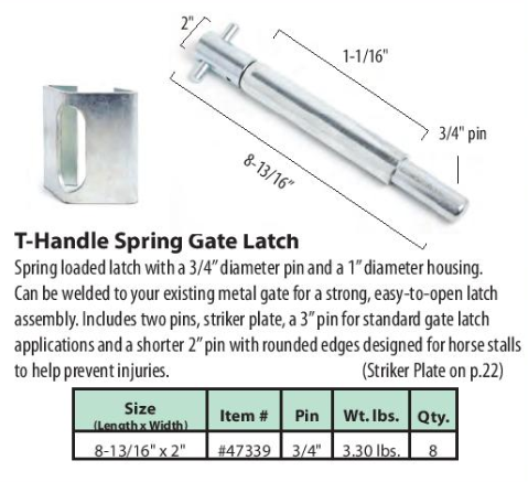T-Handle Spring Gate Latch