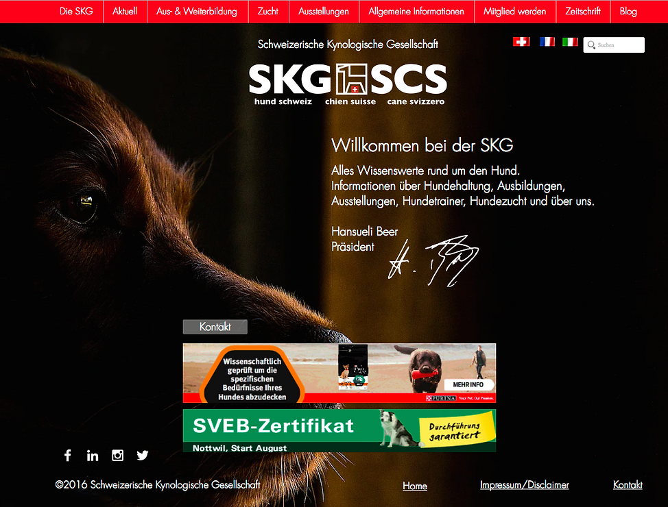 SKG Schweizerische Kynologische Gesellschaft - Konzept und Webdesign by COM.COM