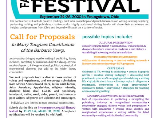 Fall Literary Festival Proposal Deadline March 31