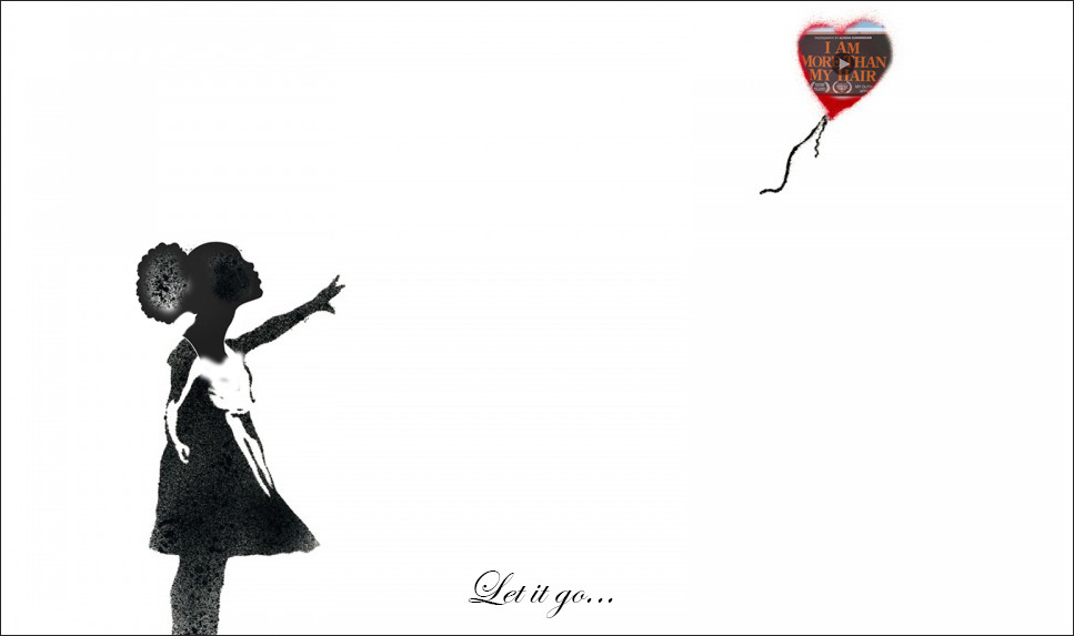 Black girl let's go of a balloon. She looks up at it.