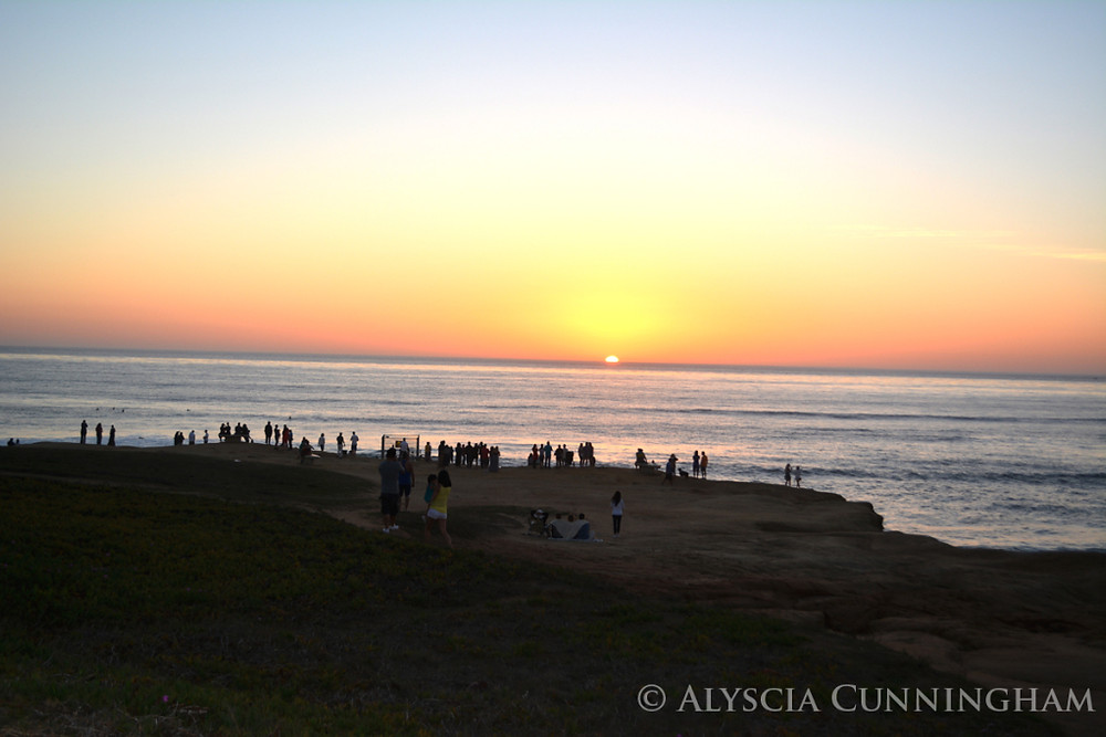 Image of the sunset at Sunset Hills in San Diego, California.