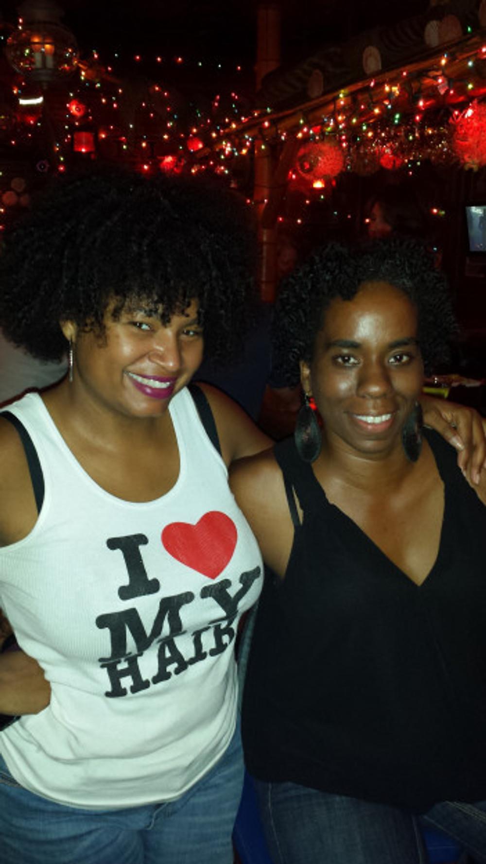 Alyscia and her friend Angela and I at a restaurant/bar in Santa Monica, CA.