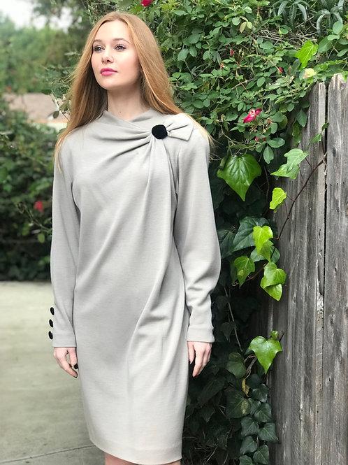 BALMAIN Slate Grey And Velvet Detailed Dress