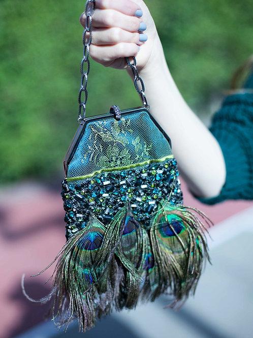 Badgley Mischka Lace & Peacock Encrusted Bag