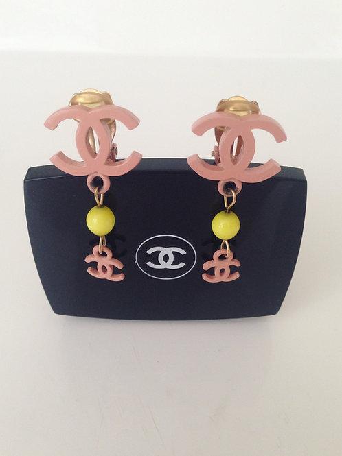 Pretty in Pink Chanel Dangling Earrings